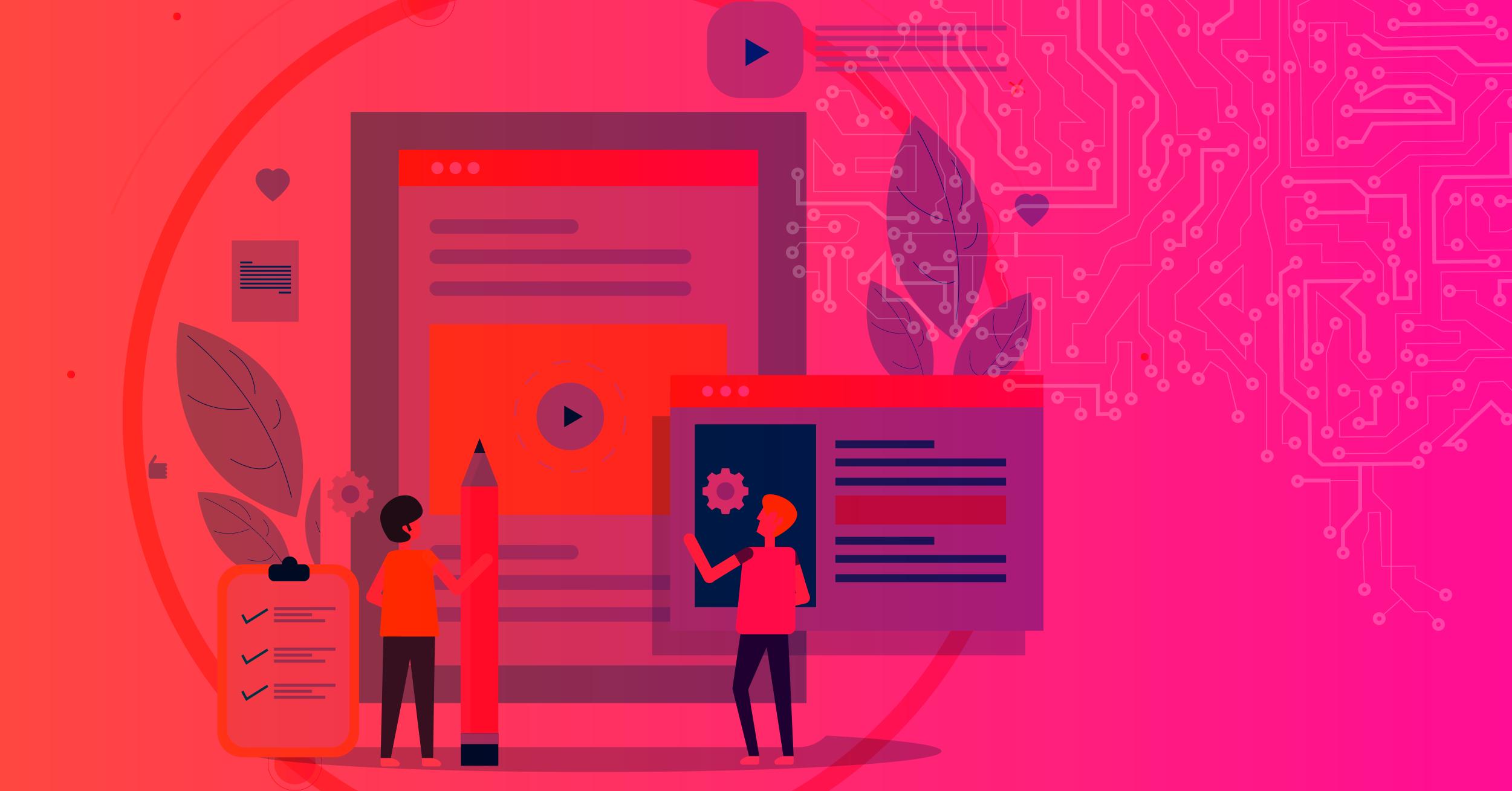 Ilustração de 6 objetivos a se atingir com o marketing de conteúdo