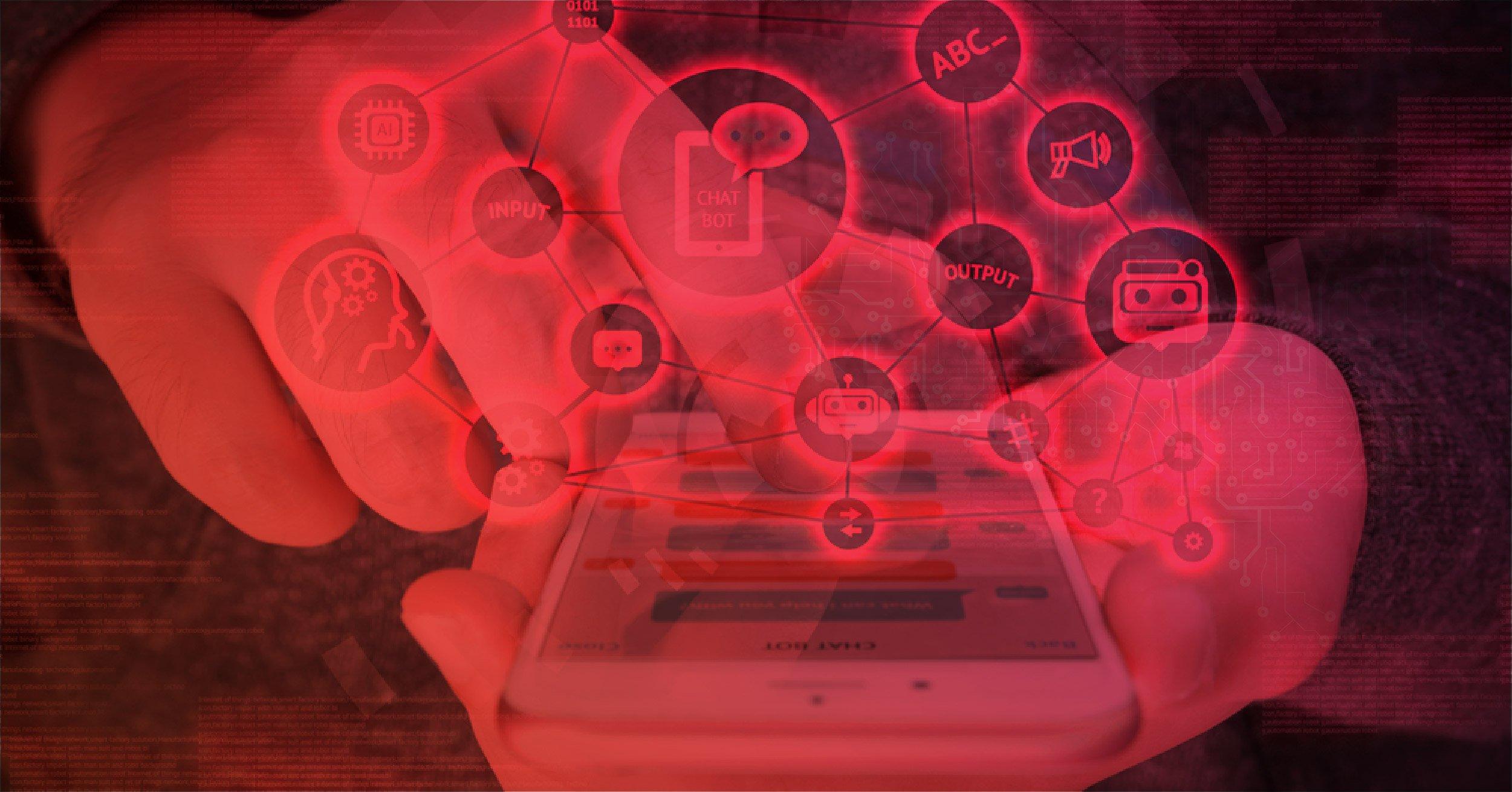 Mãos interagindo com chatbot AI no celular